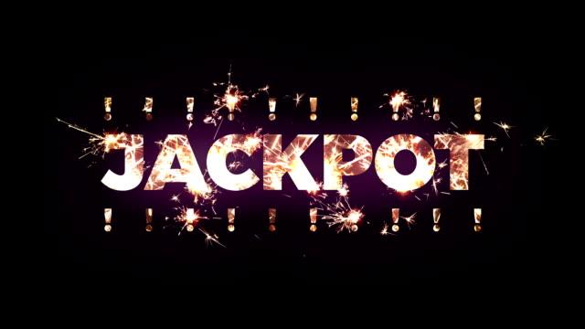 """""""jackpot"""" text gab der bengalische lichter - lotto stock-videos und b-roll-filmmaterial"""
