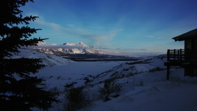 Jackson Hole, Winter Dawn, Grand Teton National Park Mountains, Time Lapse 1 video