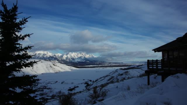 Jackson Hole, Winter Dawn, Grand Teton National Park Mountains, Time Lapse 2 video