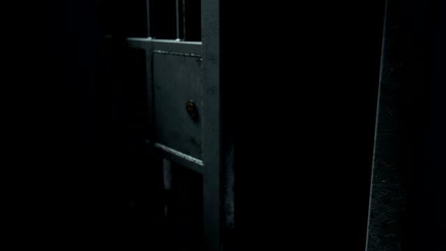 jail cel door close 1 - prigione video stock e b–roll