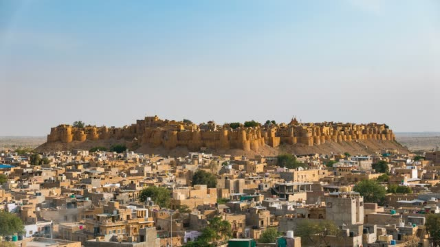 Jaisalmer cityscape at sunset, time lapse video