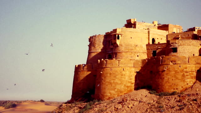 Jaisalmer Fort's sandstone wall with the Thar Desert on the background. video