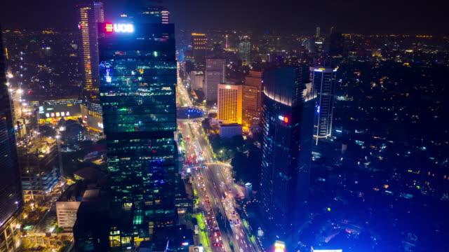 jakarta city night illumination jakarta city main traffic street fountain circle aerial panorama 4k indonesia video