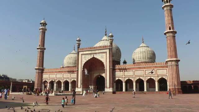 vídeos de stock, filmes e b-roll de mesquita jama masjid, delhi - monumento