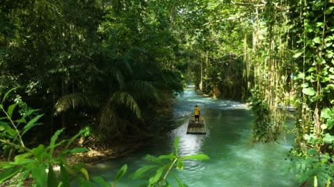 giamaica, zattere sul fiume martha brae in un paesaggio paradisiaco - idillio video stock e b–roll
