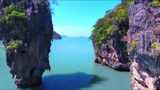 james bond island aerial view - phuket video stock e b–roll