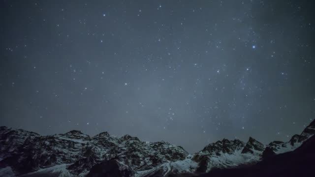 日本アルプス山宝高星空夜 ビデオ