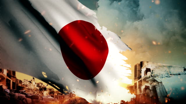 4k japan flag - crisis / war / fire (loop) - bandiera nazionale video stock e b–roll