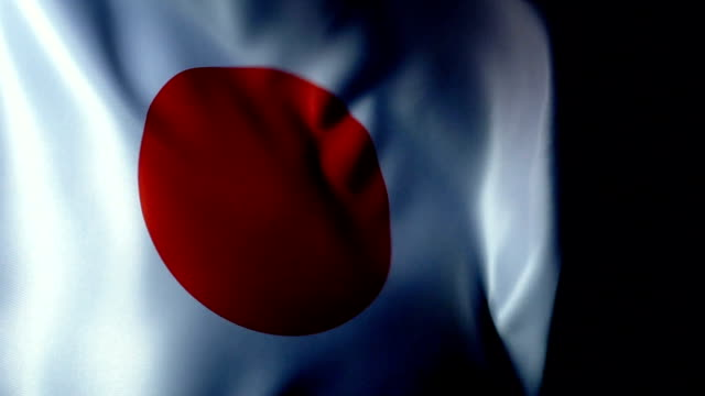 japan flag flapping - bandiera nazionale video stock e b–roll