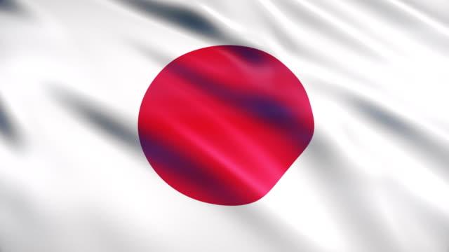japan flag - bandiera nazionale video stock e b–roll