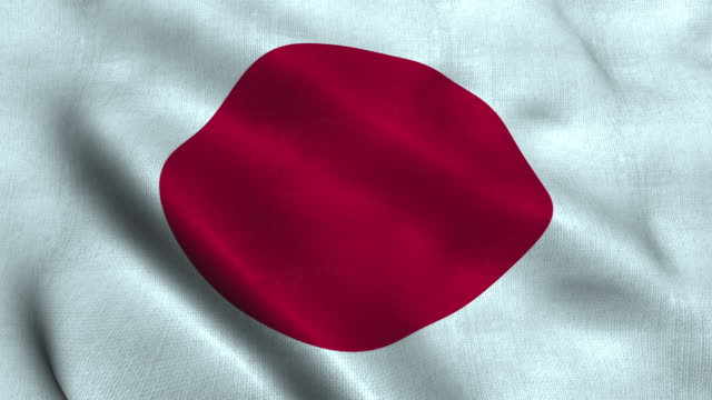 japan flag waving in the wind. national flag - bandiera nazionale video stock e b–roll