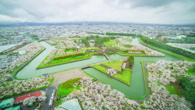 Japan Hakodate Goryokaku top view Timelapse
