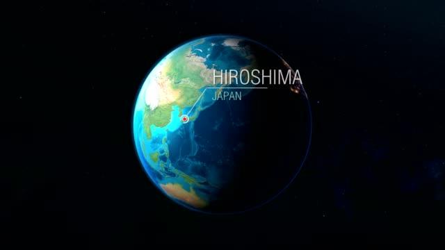 japonya-hiroşima-uzaydan dünyaya yakınlaştırma - hiroshima stok videoları ve detay görüntü çekimi
