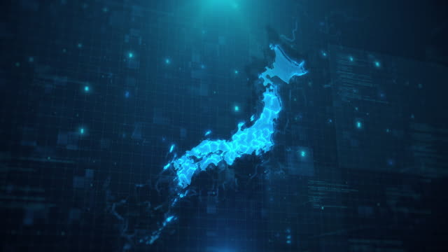 青のアニメーション背景 4 k uhd に対する日本地図 - 日本文化点の映像素材/bロール