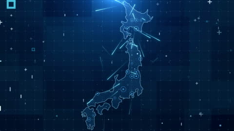 Japan Map Connections full details Background 4K Global Connections, Business, Internet, Country japan stock videos & royalty-free footage