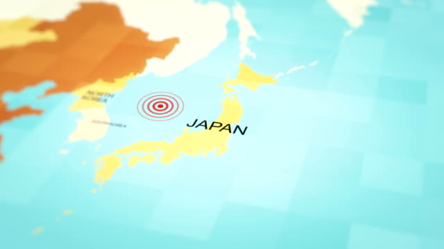 japan karte erdbeben, 4k animation - kartographie stock-videos und b-roll-filmmaterial