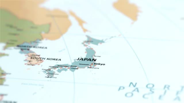 asia japan on world map - hiroshima filmów i materiałów b-roll