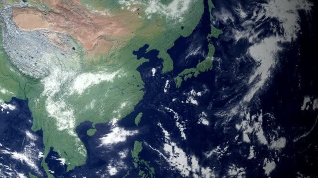 япония, требующая после earth увеличить (с альфа-матовый - линия экватора стоковые видео и кадры b-roll