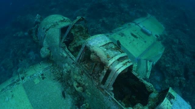 japanese aichi e13a navy seaplane wreck undersea - кораблекрушение стоковые видео и кадры b-roll