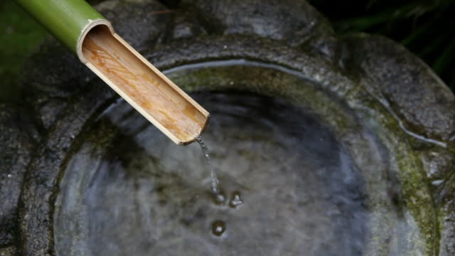 HD Japanese bamboo water fountain video