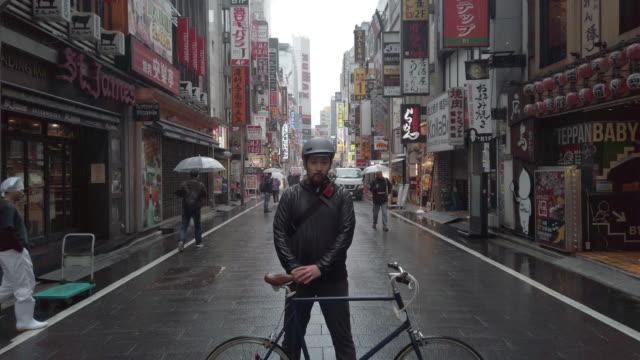 Japanese bike messenger in Tokyo
