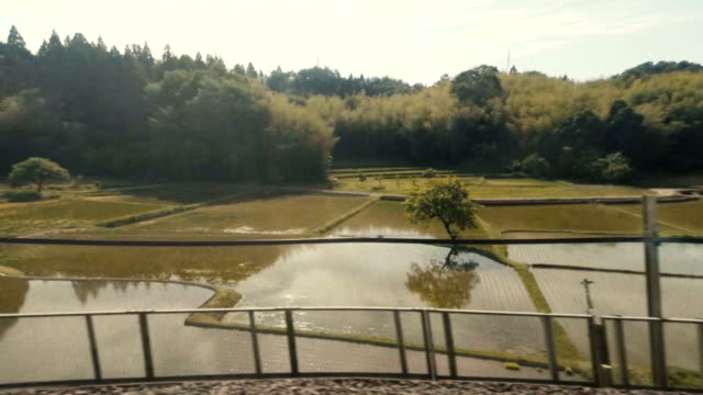 Japanese Countryside From a Bullet Train Window video