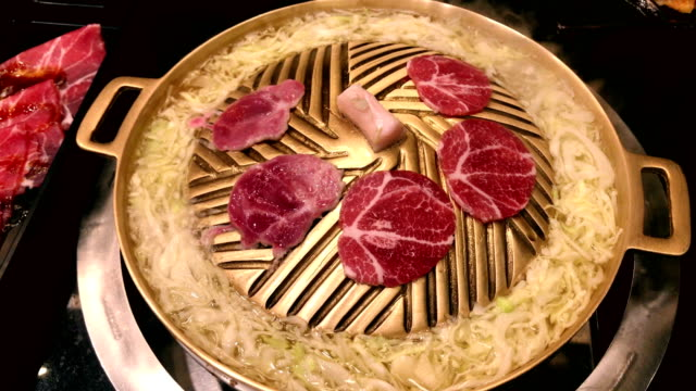 japanese cuisine jingisukan hot plate grill food - japanese food stock videos and b-roll footage