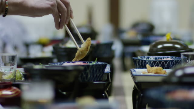 Japanese dinner with chop sticks video