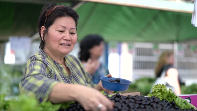 Japanese Ethnicity Woman Buying Jabuticaba / Jaboticaba on Farmers Market video