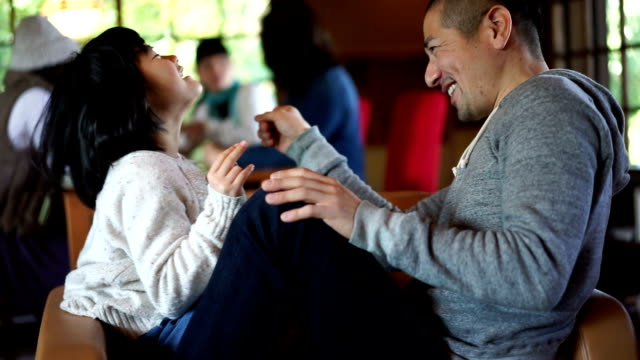 Japanese father and daughter having fun together video