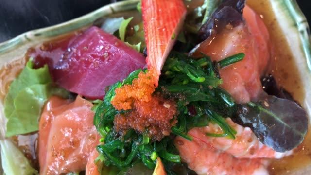 Japanese food , fresh seafood salad
