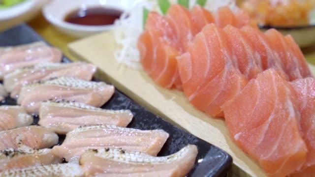 Japanese food sasimi set served on table Japanese food sasimi set served on table tuna seafood stock videos & royalty-free footage
