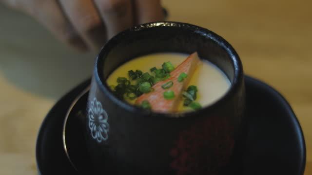japanese food:egg custard dish video