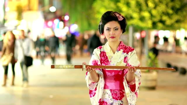Japanese geisha with sword video