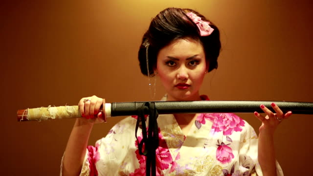 Japanese geisha with sword video