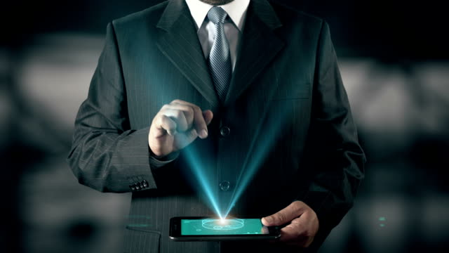 Japanese Language Choose Businessman using digital tablet technology futuristic background video