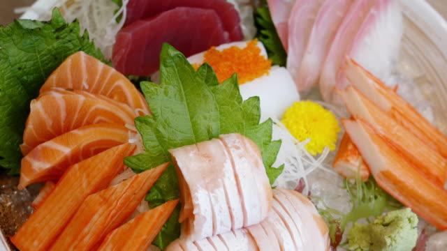 Japanese sashimi set mix Japanese sashimi set mix sashimi stock videos & royalty-free footage