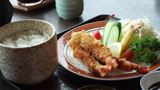 Japanese shrimp or prawn tempura food meal set for lunch video