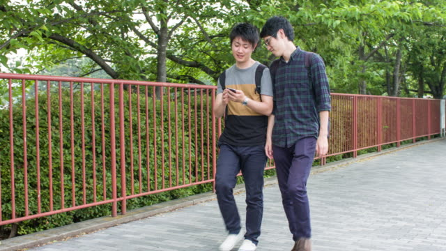 japanese students checking the mobile phone - two students together asian video stock e b–roll