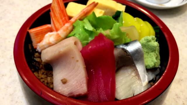 japanese style cuisine close up  japanese style cuisine sashimi stock videos & royalty-free footage