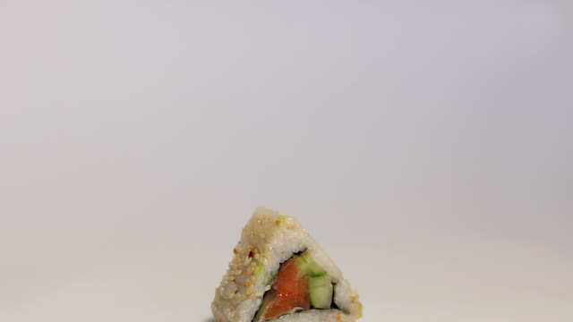 Japanese sushi nigiri close-up on white background video