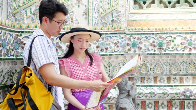 Japanese touristor visit to Thai temple(wat Aroon) by boat.