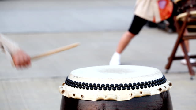 HD: Japanese traditional Taiko Drum and drummer (double video) video