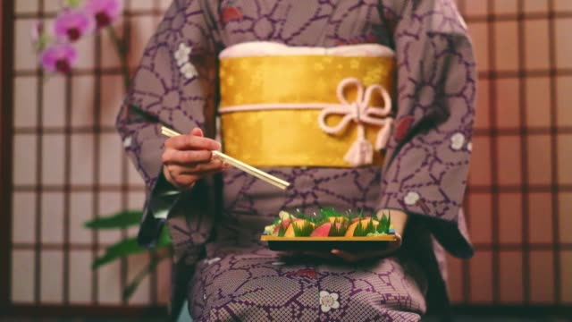 Japanese Woman Wearing Kimono video