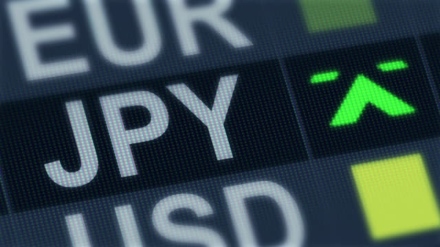 Japanese yen rising, falling. World exchange market. Currency rate fluctuating video