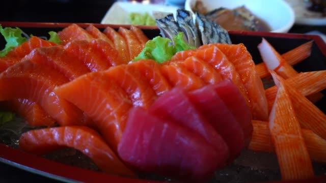 Japaneses food fresh sashimi set with salmon and tuna Japaneses food fresh sashimi set with salmon and tuna sashimi stock videos & royalty-free footage