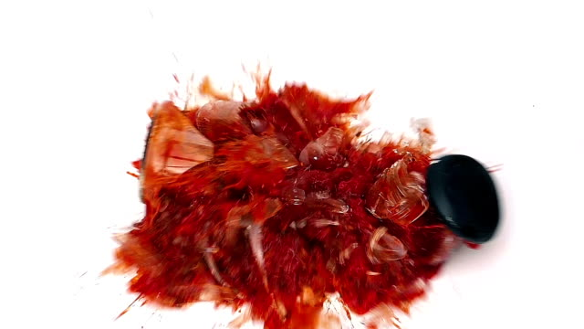 Jar Of Pasta Sauce Smashes On White Surface video