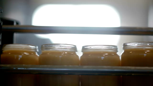 Jars with mash move on wide conveyor belt at factory Jars with mash move on wide conveyor belt at factory. Video with sound jar stock videos & royalty-free footage