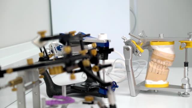 Jaw model in dental clinic video