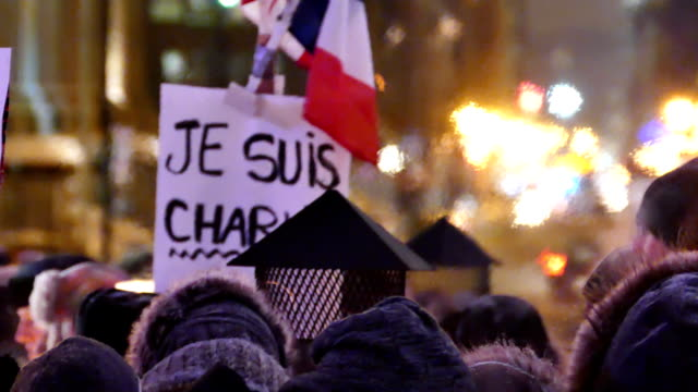 'Je suis Charlie'' vigil at night in winter with heat wave effects video